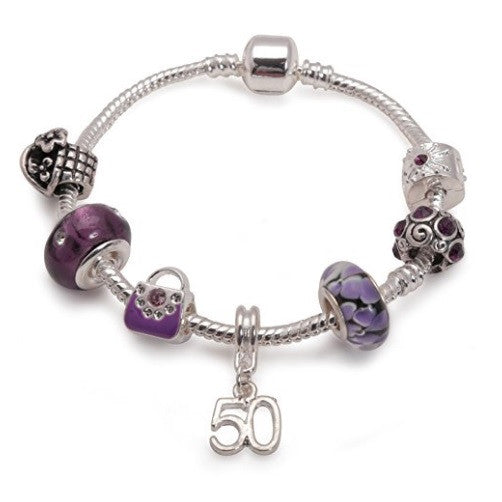 purple bracelet, 50th birthday gifts girl and charm bracelet gifts for 50 year old girl