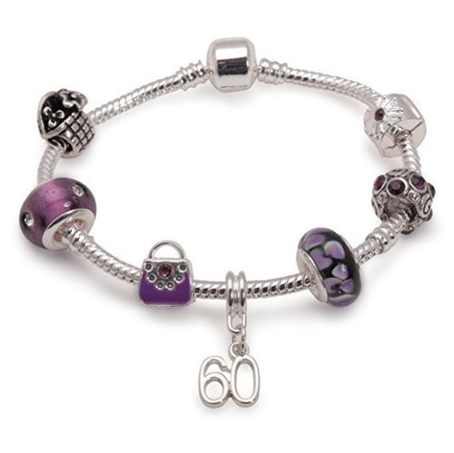 purple bracelet, 60th birthday gifts and charm bracelet gifts for 60 year old