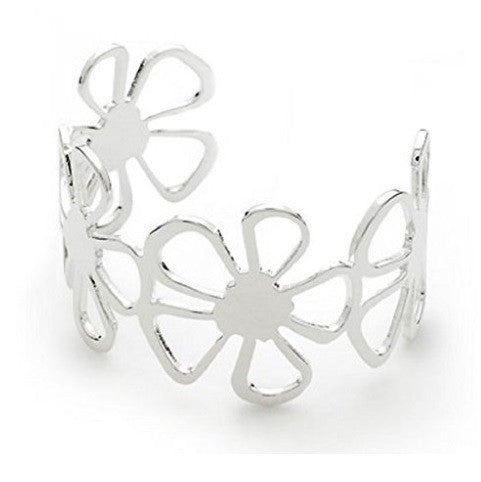 Designer Inspired 925 Sterling Silver Plated Flower 'Fleur' Adjustable Cuff