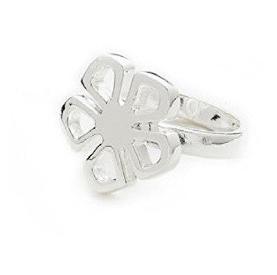 Designer Inspired 925 Sterling Silver Plated Flower 'Fleur' Ring