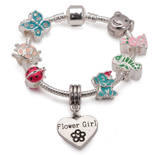 Children's Flower Girl 'Animal Magic' Silver Plated Charm Bead Bracelet