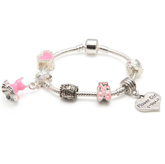 Children's Flower Girl 'Love To Dance' Silver Plated Charm Bead Bracelet