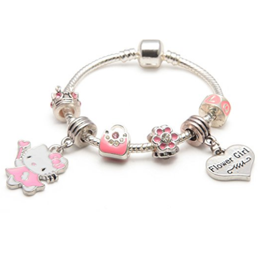 Children's Flower Girl 'Pink Kitty Cat Glamour' Silver Plated Charm Bead Bracelet