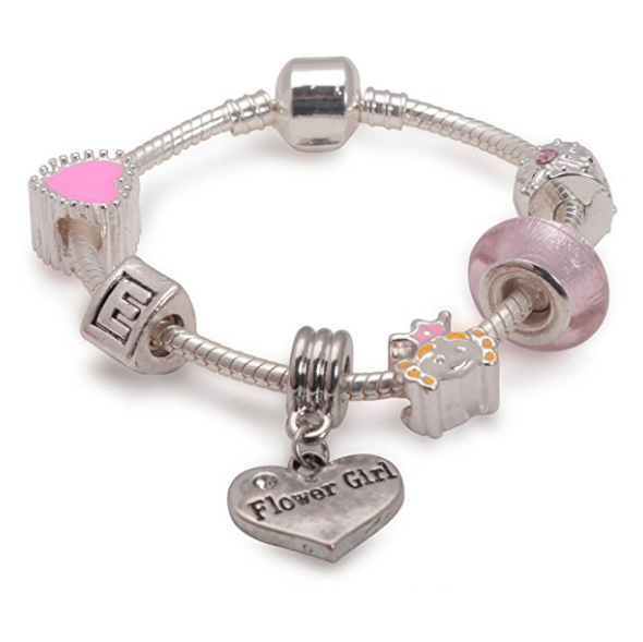 Children's Flower Girl 'Pink Princess' Silver Plated Charm Bead Bracelet