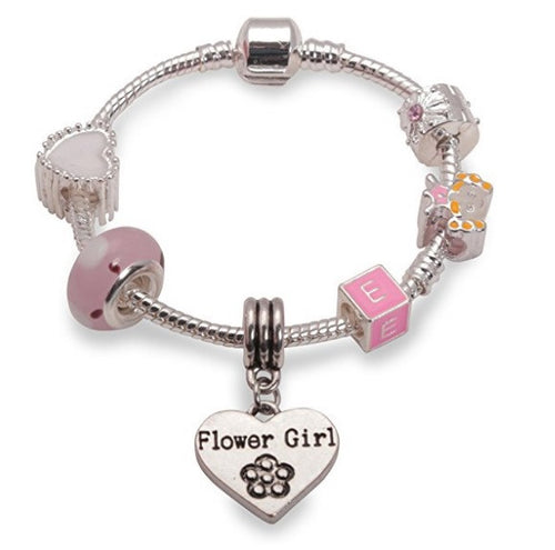 Children's Flower Girl 'Pink Sweetie' Silver Plated Charm Bead Bracelet