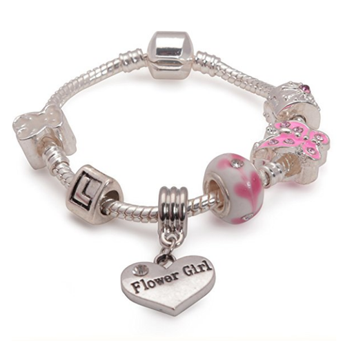 Children's Flower Girl 'Pink Butterfly' Silver Plated Charm Bead Bracelet