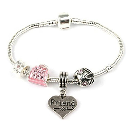 Adult's Friend 'Handbag Heaven' Silver Plated Charm Bead Bracelet