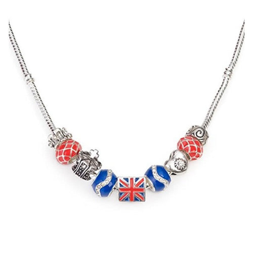 Silver Plated 'London Union Jack' British Charm Bead Necklace