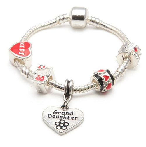 Children's Granddaughter 'Red Hello Kitty' Silver Plated Charm Bead Bracelet