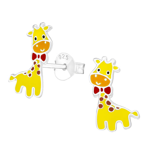 Children's Sterling Silver Giraffe Stud Earrings
