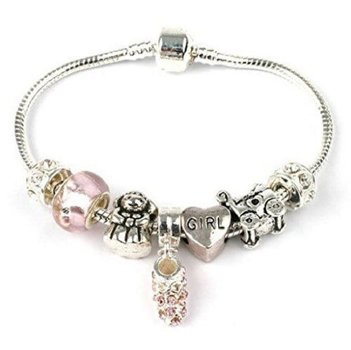 New Baby 'It's A Girl' Silver Plated Charm Bead Bracelet