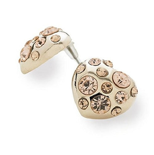 Designer Style Gold and Crystal Diamante 'Shimmer Heart' Stud Earrings
