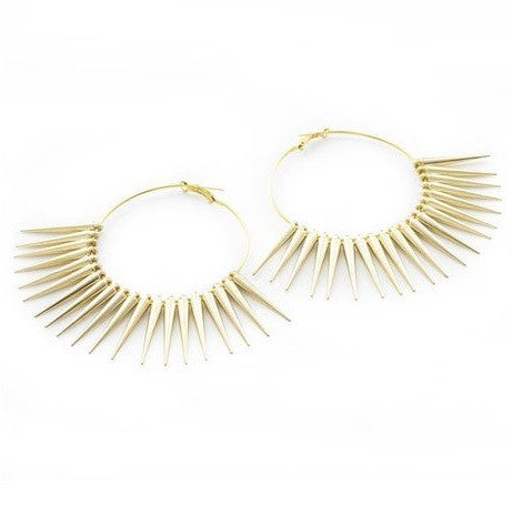 Designer Celebrity Style Gold Plated 'Mistress' Spike Hoop Earrings