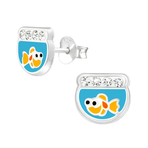 Children's Sterling Silver 'Goldfish Bowl' Stud Earrings