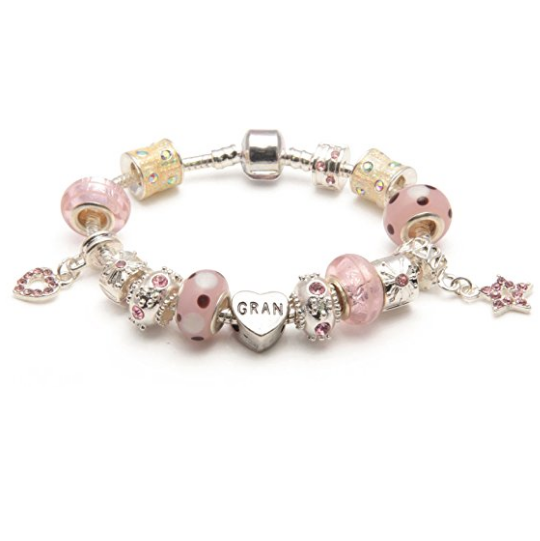 Gran 'Pink Me Up' Silver Plated Charm Bead Bracelet