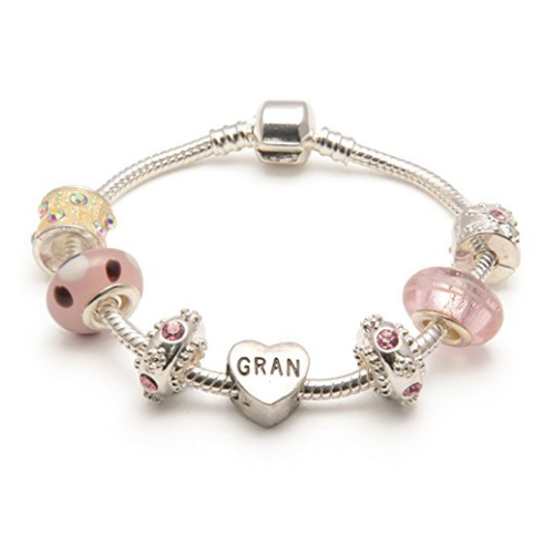 Gran 'Vanilla Kisses' Silver Plated Charm Bead Bracelet