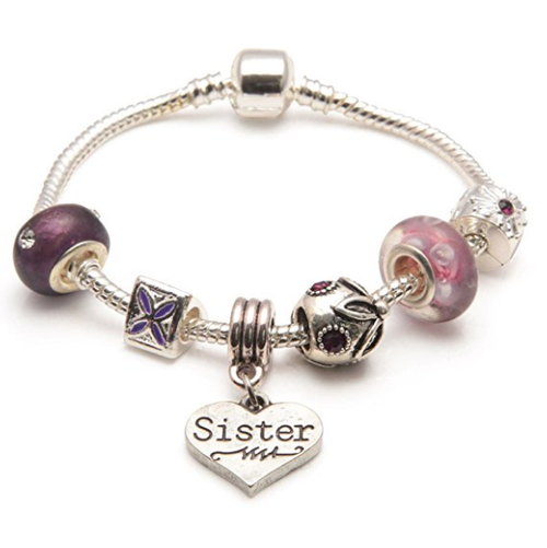 Adult's Sister 'Purple Haze' Silver Plated Charm Bead Bracelet