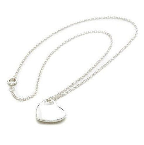 925 Sterling Silver Plated 'Heart In Heart' Charm Necklace
