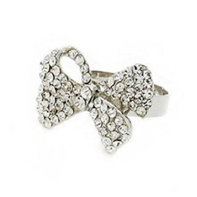 Designer Celebrity Silver and Crystal Diamante 'Heavenly Bow' Adjustable Cocktail Ring