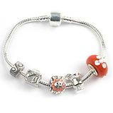 Teenager's 'Holiday Romance' Silver Plated Charm Bead Bracelet