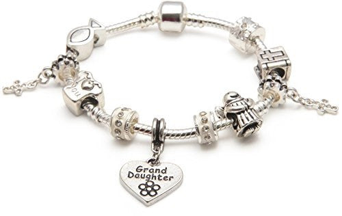 Girls First Holy Communion/Confirmation for Granddaughter Silver Plated Charm Bracelet