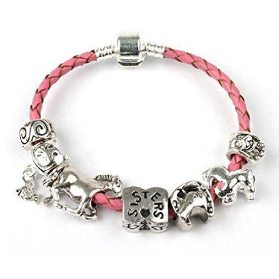 pink leather sister bracelet with charms and beads