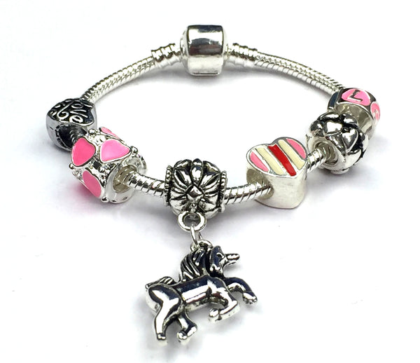 Children's 'I Love Unicorns' Silver Plated Charm Bead Bracelet