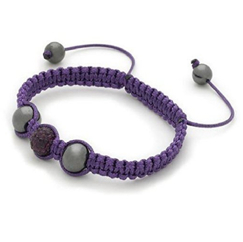 Designer Inspired 'Indi' Purple Czech Crystal Disco Ball Shamballa Bracelet