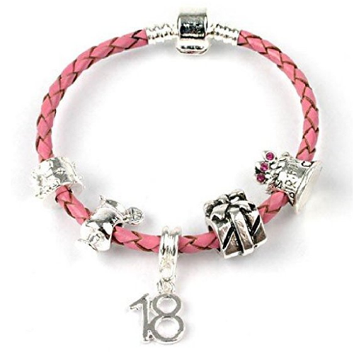 Teenager's 'It's My Birthday' Age 13/16/18 Pink Braided Charm Bead Bracelet