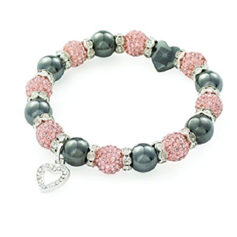 Designer Inspired 'Heart Kensington Starlet' Champagne Czech Crystal and Haematite Stretch Bracelet