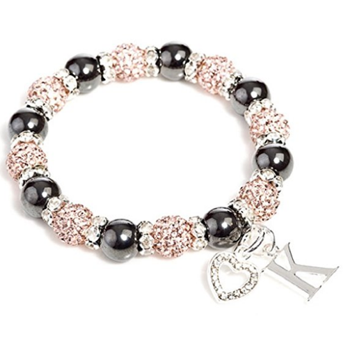 Designer Inspired 'Kensington Duo Starlet' Champagne Czech Crystal and Haematite Stretch Bracelet