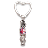 Union Jack 'London Rocks' Silver Plated Keyring/Handbag Charm