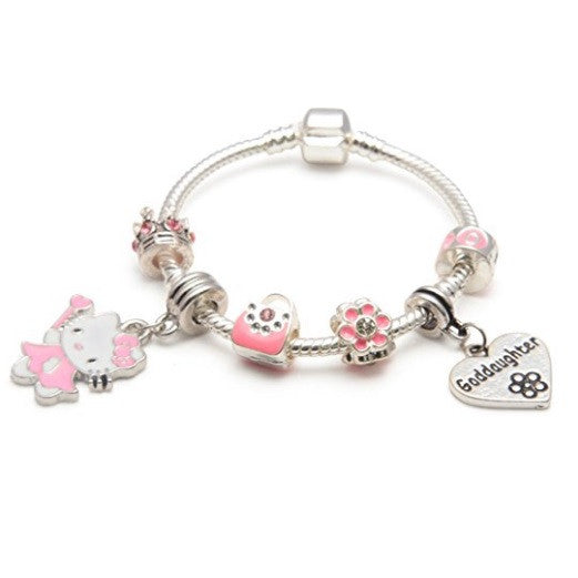 Goddaughter 'Pink Kitty Cat Glamour' Silver Plated Charm Bead Bracelet