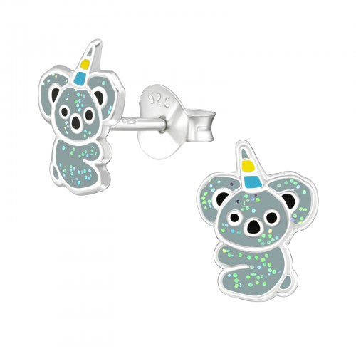 Children's Sterling Silver 'Koala-corn' Stud Earrings