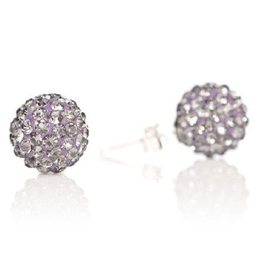 925 Sterling Silver Lilac - Purple Czech Crystal Disco Ball - Shamballa Earrings