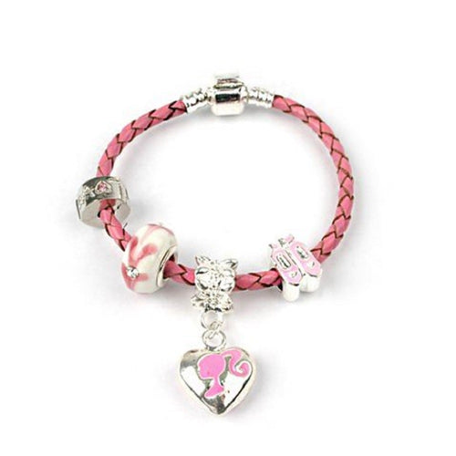 Children's 'Miss Pink' silver plated Pink Leather charm bracelet