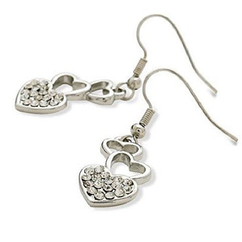 Designer Style Silver Tone and Crystal Diamante 'Love Me Do' Drop Earrings