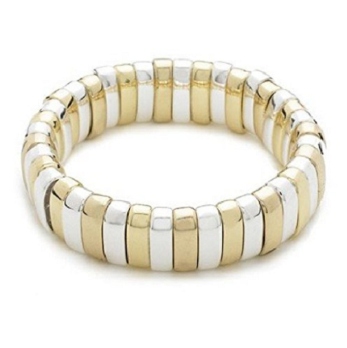 Designer Inspired 'Love' Gold & Sterling Silver Plated Stretch Bracelet