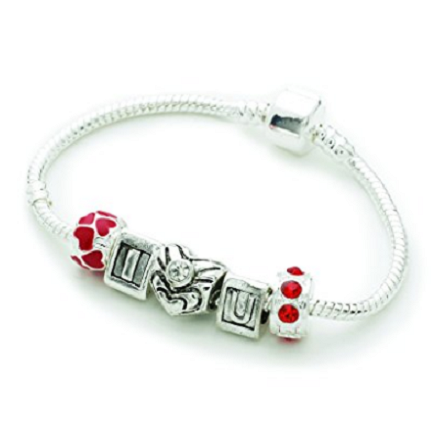 Teenager's/Tweens 'I Love You' Silver Plated Charm Bead Bracelet
