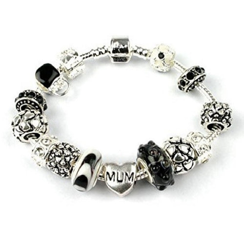 Mum 'Loves Dream' Silver Plated Charm Bead Bracelet