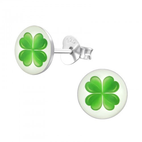Sterling Silver 'Lucky Four Leaf Clover' Stud Earrings