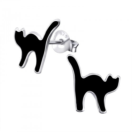 Sterling Silver 'Lucky Black Cat' Stud Earrings