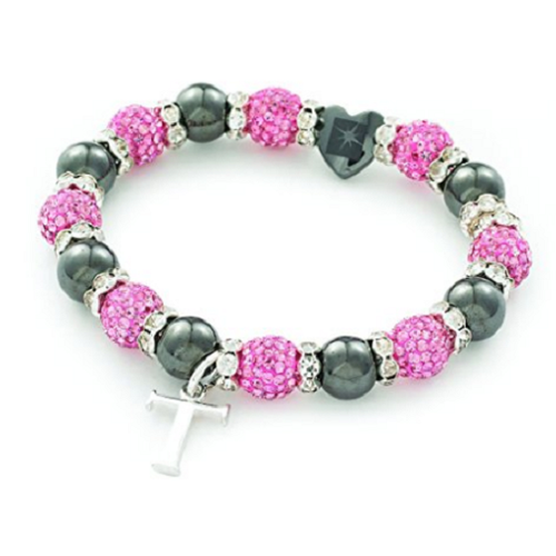 Designer Inspired 'Mayfair Starlet' Pink Czech Crystal and Haematite Stretch Bracelet