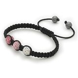 Designer Inspired 'Miami Rocks' Pink & White Czech Crystal Disco Ball Shamballa Bracelet