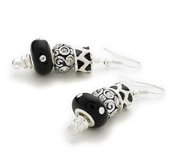 Silver Plated 'Midnight Sparkle' Bead Charm Earrings