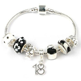 Teenager's 'Midnight Cocktails' Age 13/16/18 Silver Plated Charm Bead Bracelet