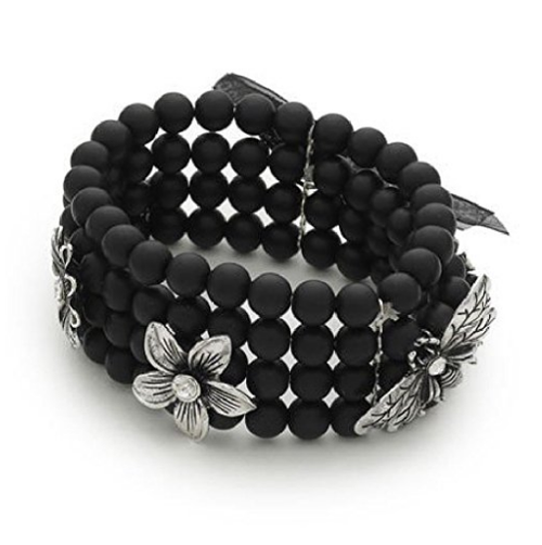 Designer Inspired 'Midnight Fleur' Black & Silver Diamante Flower & Dragonfly Stretch Bracelet