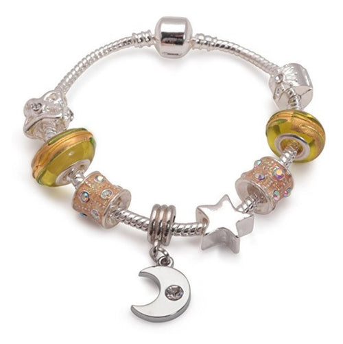 Children's 'Twinkling Moon & Star' Silver Plated Charm Bead Bracelet