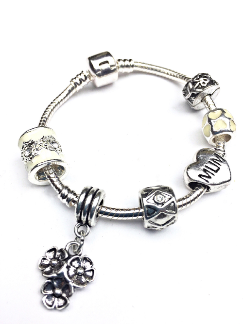 Mum 'Spring Flowers' Silver Plated Charm Bead Bracelet