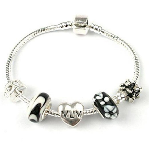 Mum 'Black Beauty' Silver Plated Charm Bead Bracelet
